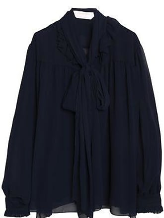 See By Chloé See By Chloé Woman Pussy-bow Ruffle-trimmed Georgette Blouse Midnight Blue Size 42