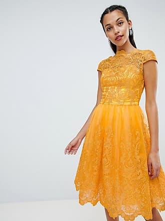 Chi Chi London premium lace midi dress with cap sleeve - Yellow