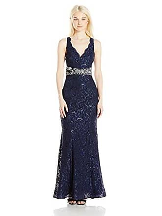My Michelle Sequin Hearts Juniors Long Prom Dress with Sequin Lace and Jeweled Belt, Navy, 11