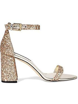 Alice & Olivia Alice + Olivia Woman Lillian Mirrored Leather-trimmed Glittered Woven Sandals Gold Size 37.5