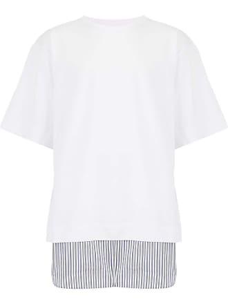 Juun.J Camiseta com barra de popeline - Branco