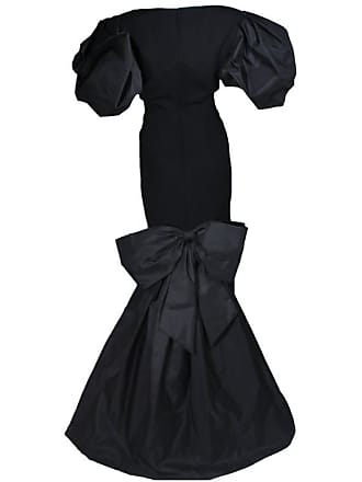 25bef4d5e7b Victor Costa 1980s - 1990s Black Gown With Puff Sleeve Bow Size 12-14
