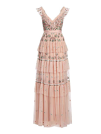 eb6bd00b063 Needle   Thread Whimsical Ruffled Embroidered Tulle Maxi Dress Pink