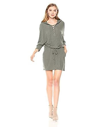 Chaser Womens Love Knit LACE UP Front Hooded Dolman Dress, Safari, M