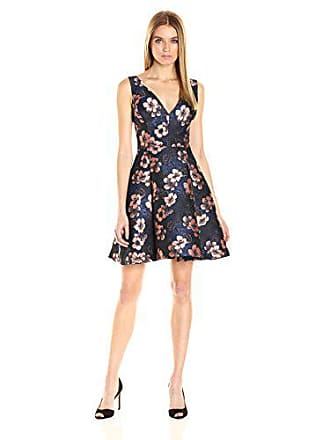 Betsey Johnson Womens Floral Jacquard Fit & Flare Dress, Navy Blush Multi, 10