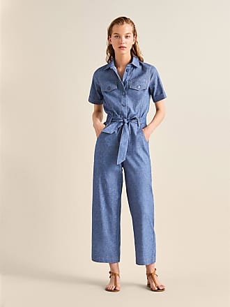 MASSIMO DUTTI BELTED DENIM JUMPSUIT WITH TOPSTITCHING