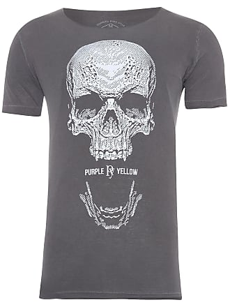 PURPLE YELLOW CAMISETA MASCULINA SKULL SCREAMING - CINZA