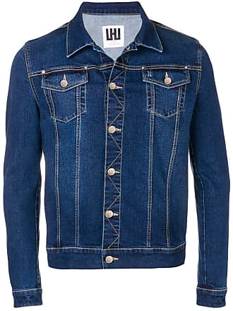 Les Hommes denim panelled shirt jacket - Azul