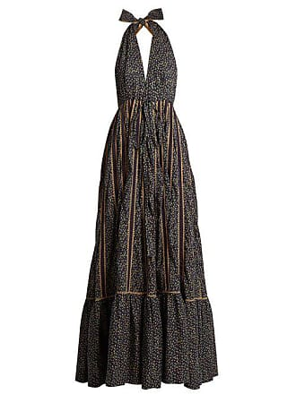 Kalita Rooftop Runway Cotton Halterneck Maxi Dress - Womens - Navy Multi