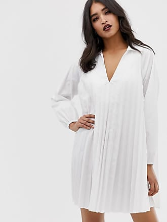 Asos pleated long sleeve cotton swing mini dress - White