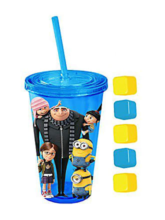 Universal Works Silver Buffalo DM35087Q Universal Despicable Me Hanging Minion Cold Cup with Square Ice Cubes Lid & Straw, 16 oz, Multicolor