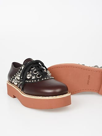 448e5dcc097 Miu Miu Leather Studded Oxford Shoes with Platform size 39