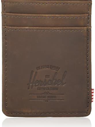 Herschel Herschel Unisexs Raven Leather RFID Wallet Card Case, Nubuck Brown, One Size