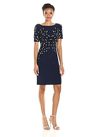 b89751da1ea Adrianna Papell Womens Short Sleeve Jersey Beaded Cocktail Dress, Midnight,  12