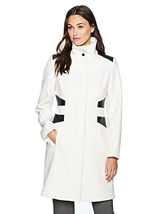 Via Spiga Womens Mid-Length Stand Collar Wool Coat with Waist Slimming Detail, Winter White, 2