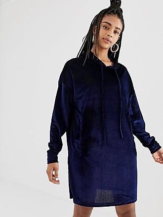 Daisy Street hoodie dress in velvet cord - Navy