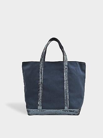 0c35378f12 Vanessa Bruno Sac Cabas Moyen Toile et Paillettes en Coton Bleu
