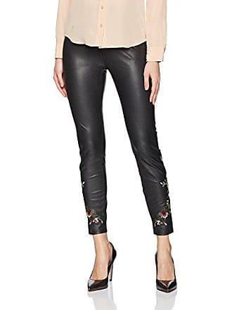Lyssé Womens Embroidered Vegan Leather Legging, Black, M