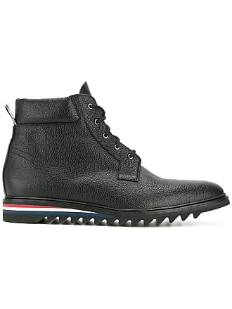 Thom Browne Cropped Blucher Boot In Pebble Grain Leather - Black