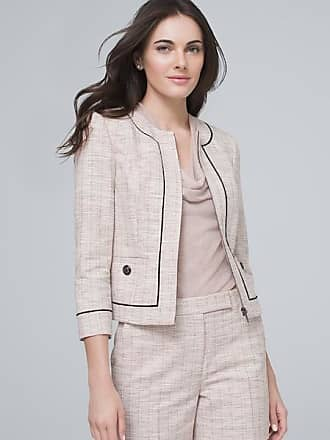 White House Black Market Womens Contrast Tweed Suiting Jacket by White House Black Market, Whisper, Size 12