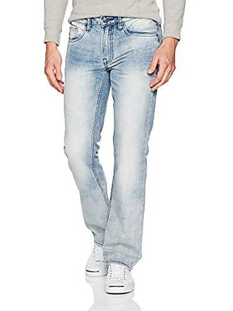 Buffalo David Bitton Mens Six Slim Straight Leg Fashion Denim Jean in 30 Inseam, Bleached/Contrasted, 36 x 32