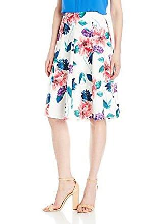 Ellen Tracy Womens Seamed Flare Skirt, Jardin El Cream, 2