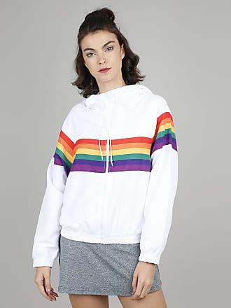 Ace Jaqueta Corta Vento Feminina Pride Arco-Íris com Capuz Branca