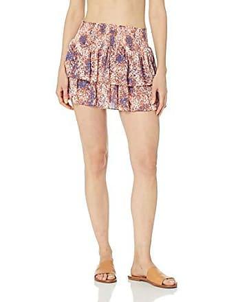 Ramy Brook Womens Printed Sibyl Skirt, Mykonos Leopard/Orange Combo, Medium