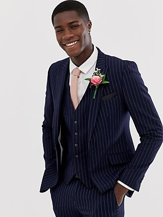 Burton Menswear wedding skinny suit jacket in navy stripe