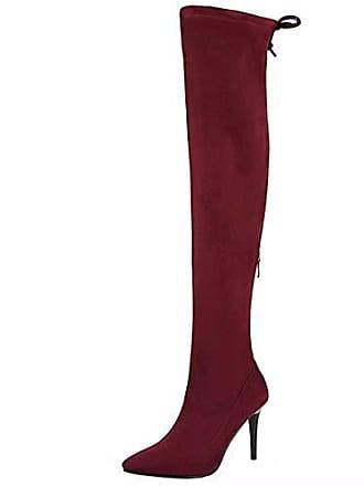 100dcb9f039b86 Aiyoumei Damen Wildleder Stiletto Stretch Overknee Stiefel mit 9cm Absatz  Elegant High Heels Langschaftstiefel Schuhe