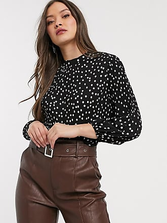 Warehouse pleated blouse in polka dot-Black