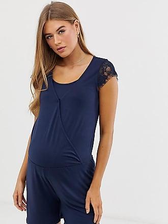 9c7e5b09a3141 Mama Licious Mamalicious maternity nursing lace trim jersey romper in blue  - Navy