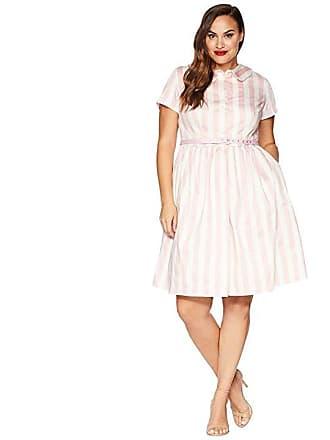b44c2b932ad Unique Vintage Plus Size Regina Shirtdress (Pink White Striped) Womens Dress