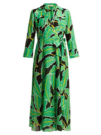 Diane Von Fürstenberg Clarem Cotton Blend Voile Wrap Dress - Womens - Black Green