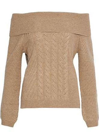 N.Peal N.peal Woman Off-the-shoulder Cable-knit Cashmere Sweater Sand Size XL