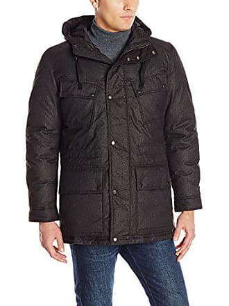 Cole Haan Mens Down Jacket with hood, two pockets in front, charcoal grey, XX-Large