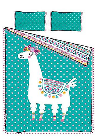 South Shore Furniture DreamIt Full Comforter and Pillowcase Festive Llama, Turquoise and Pink