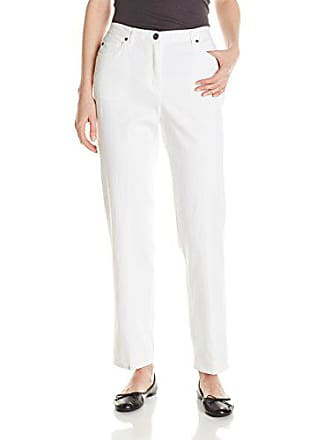 Ruby Rd. Womens Classic Flat Front Denim Jean, White, 18
