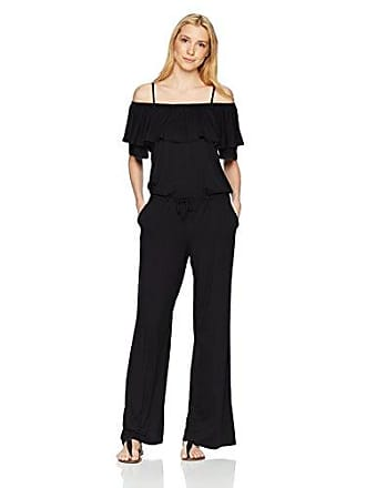 La Blanca Womens Off Shoulder Ruffle Jumpsuit, Black, Extra Small