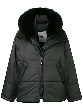 Yves Salomon - Army fox fur hooded padded jacket - Black