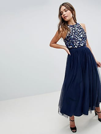 40e1368dee Asos ASOS Embellished Cluster Crop Top Tulle Midi Dress - Navy