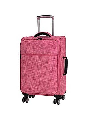 IT Luggage 21.5 Stitched Squares 8 Wheel Lightweight Expandable Carry-on, Camellia Rose