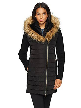 Calvin Klein Performance Womens Walker Jacket W Sweater Rib And Drama Collar Faux Fur Trimmed
