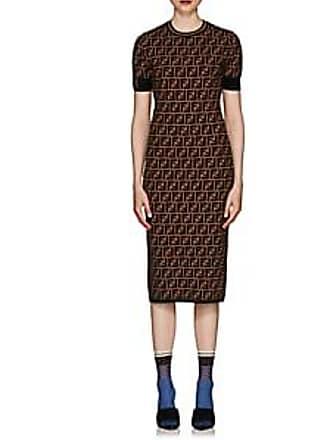 592a59b2ace2 Fendi Womens Logo Knit Body-Con Midi-Dress - Brown Size 40 IT
