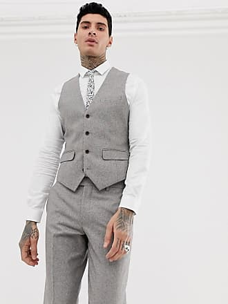 Harry Brown wedding wool blend slim fit summer tweed suit vest - Gray