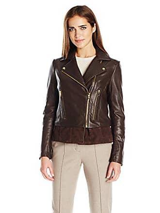 Via Spiga Womens Leather Moto Jacket, Chocolate, Medium