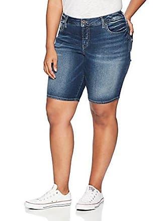 97dc9ba627c2 Silver Jeans Co Womens Plus Size Suki Curvy Fit Mid Rise Bermuda Shorts,  Dark Fluid