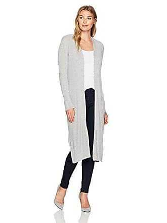 Kasper Womens Rib Duster Cardigan, Heather Grey L