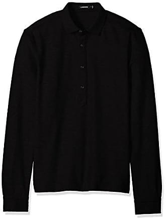 J.Lindeberg Mens Long Sleeve Cotton Polo Shirt, Black, Medium