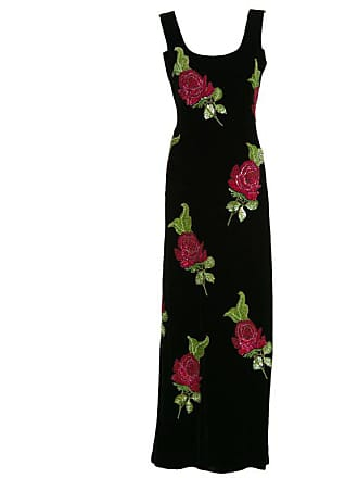 092b6b26e17 Giorgio Armani 1990s Giorgio Armani Black Velvet Hand Sequined Beaded Roses  Evening Dress